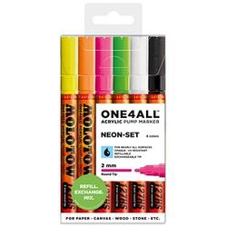 6 MOLOTOW NEON-SET Acrylstifte farbsortiert 2,0 mm