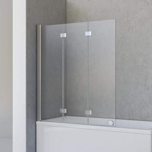 Schulte Duschwand Valet, 130 x 142 cm, 3-teilig faltbar, 5 mm Sicherheitsglas (ESG) Klar hell, Profilfarbe Chromoptik, Duschabtrennung für Badewanne