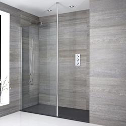 Walk-In Duschwand 1400 x 900mm inkl. Anthrazit Duschtasse & Duschwandhaltestange, von Hudson Reed