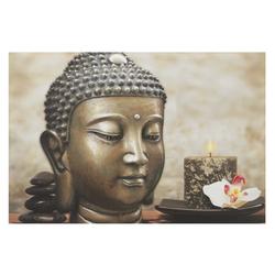 LED Bild Buddha mit Kerze natur