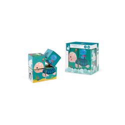 Janod Badespielzeug Motiv-Würfel, 4 Stück Badespielzeug