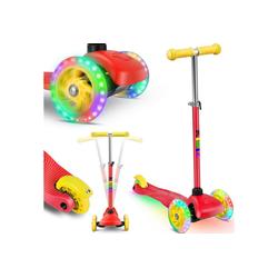 KIDIZ Cityrad, Kinder Scooter Pro1 Dreiradscooter mit PU LED Leuchtenden Räder Kinderroller Tret-Roller höhenverstellbarer Cityroller Kinderscooter für Kinder Jungen Mädchen ab 3-12 Jahre rot