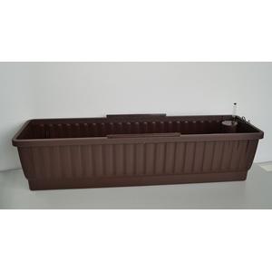 Balkonkasten VENEZIA 80cm mit Wasserspeicher-System und Wasserstandsanzeiger, Farbe: dunkelbraun