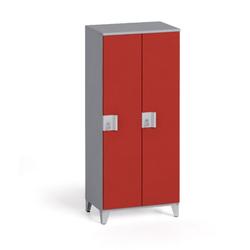 Zweiteiliger kleiderschrank 1400 x 600 x 400 mm, grau/rote