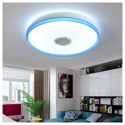 Natsen Deckenleuchte, Bluetooth LED Deckenlampe mit Lautsprecher dimmbar (36W Blau Weiß +Fernbedienung) Ø 50 cm x 7 cm