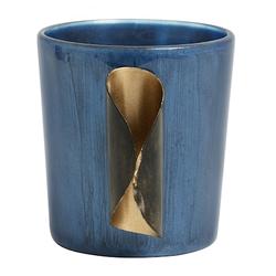 Nordal Kerzenhalter Glas & Goldenes Metall Blau