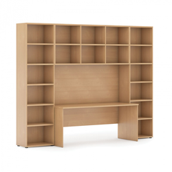 Bücherwand mit integriertem tisch, hoch, 2950 x 700/400 x 2300, buche