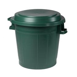 ONDIS24 Allzweckkorb Universal Gartentonne Kanada, Abfalleimer 75L, Mülleimer mit flachem Deckel, Abfalltonne mit Griffen, Mülltonne grün & rund, Müllbehälter für Garten