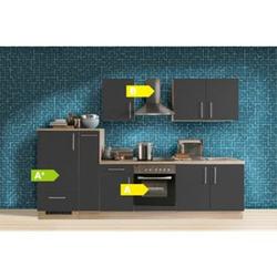 Menke Küchen Küchenzeile Premium 300 cm Lacklaminat Schiefer Matt