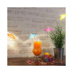 MARELIDA LED-Lichterkette LED Lichterkette bunte Sonnenschirmchen warmweißen LED Batterie Cocktailschirm, 10-flammig
