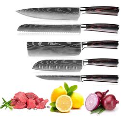 Melody Messer-Set Nagoya Carbon-Edelstahl Kochmesser (5er-Set, Chefmesser, Brotmesser, Filitiermesser, Santokumesser, Hackmesser) schwarz