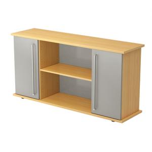 Hammerbacher Sideboard SB / 2 Türen / Dekor: Buche/Silber / Griff: Chromgriff