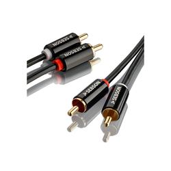 SEBSON Cinch Audio Kabel 2m, 2 zu 2 Cinch Stecker RCA, AUX Audio Kabel für Stereoanlage, Verstärker, Heimkino und HiFi Anlagen Optisches-Kabel
