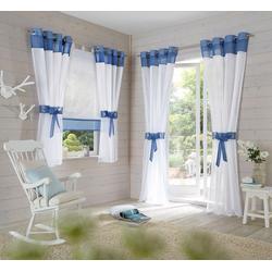 Raffrollo Villars, my home, mit Schlaufen blau 100 cm x 140 cm