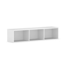 Bücherregal integro mit regalen, niedrig, weiß