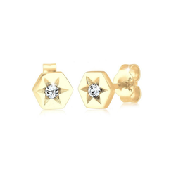 Elli Paar Ohrstecker Stern Hexagon Kristalle Sterling Silber goldfarben
