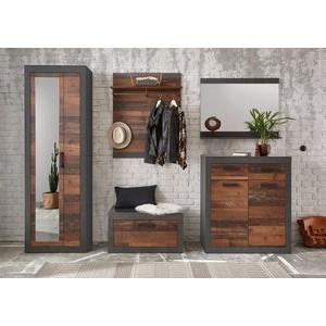 Home affaire Garderoben-Set BROOKLYN, (Komplett-Set, 5-tlg., bestehend aus Garderobenschrank mit Spiegel, Kommde, Spiegel, Garderobenbank und -paneel), in dekorativer Rahmenoptik