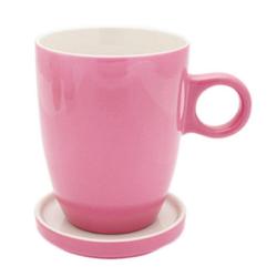 PICKWICK Tasse Teetasse mit Untertasse, Tee Tip, rosa, 230 ml