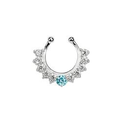 Adelia´s Nasenpiercing Nasenpiercing Fake Ring Septum Silber mit 11 Steinen, Mit 11 Steinen blau