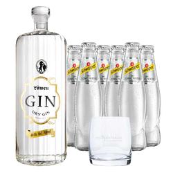 Löwen Dry Gin & 6 x Schweppes Dry Tonic Water & Glas