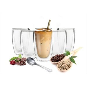 Sendez Thermoglas 6 doppelwandige Cappuccino Gläser 200ml mit Edelstahl-Löffel Kaffegläser Teeglas, Glas