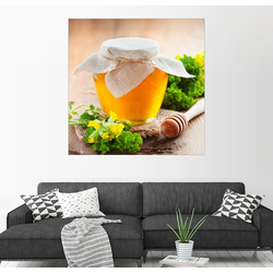 Posterlounge Wandbild, Honigtopf und Honig-Stick 20 cm x 20 cm