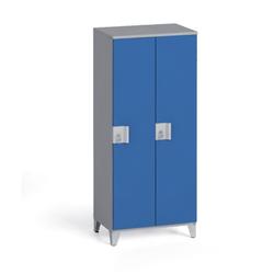 Zweiteiliger kleiderschrank 1400 x 600 x 400 mm, sivá/modrá