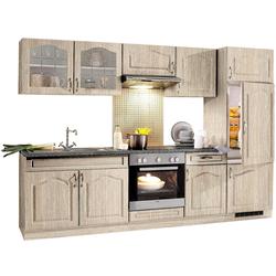wiho Küchen Küchenzeile Linz, mit E-Geräten, Breite 270 cm, mit Cerankochfeld braun