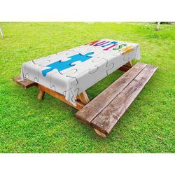 Abakuhaus Tischdecke dekorative waschbare Picknick-Tischdecke, Autismus Inschrift auf Weiß Puzzle 145 cm x 265 cm
