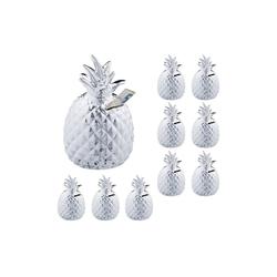 relaxdays Spardose 10 x Spardose Ananas in Silber