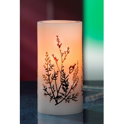 JOKA international LED-Kerze Flammenlose Echtwachskerze mit Herbst-Motiv 13362, LED Echtwachskerze mit Herbst-Motiv