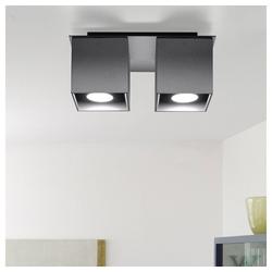 etc-shop LED Deckenspot, Deckenstrahler modern Designer Küchenlampen Strahler 2 flammig Aufbauleuchte grau, Aluminium, 2x GU10, LxH 26 x 11 cm
