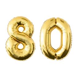 MyBeautyworld24 Folienballon Folienballon Zahlenballon in der Farbe gold Heliumballon Riesenzahl Geburtstag Deko Höhe 100 cm 80