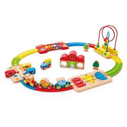 Hape Spielzeug-Eisenbahn Regenbogen-Puzzle Eisenbahnset, aus Holz bunt Kinder Ab 18 Monaten Altersempfehlung