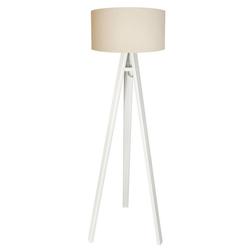 Licht-Erlebnisse Stehlampe AMARA Retro Stehlampe Weiß Creme Stoff Holz Wohnzimer Lampe