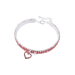 TOPMELON Tier-Halsband, Legierung, Hundehalsband, Kristallkragen & Glänzender Heller Kristalldiamant rot M
