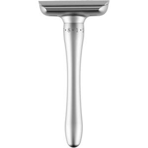 SNMIRN Rasierhobel-Set, doppelseitig verstellbar, klassisches Rasiermesser, magnetisches Adsorptionsdesign, langer Griff, komfortable Nassrasur, keine Irritationen (Silber)