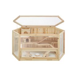 tectake Kleintierkäfig Hamsterkäfig aus Holz 115x60x58cm