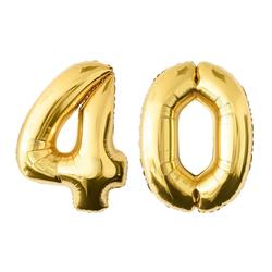 MyBeautyworld24 Folienballon Folienballon Zahlenballon in der Farbe gold Heliumballon Riesenzahl Geburtstag Deko Höhe 100 cm 40