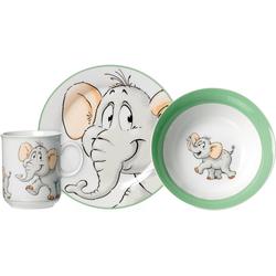 Ritzenhoff & Breker Kindergeschirr-Set Happy Zoo, Eddie (3-tlg), Porzellan, mit Elefanten-Dekor