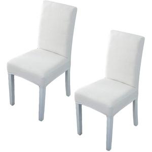 DOTTOD Universal Stuhlhussen 2er Set, Elastische Moderne Stuhlbezug Stretch, sehr pflegeleicht und langlebig (Weiß - A)