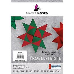 Papierstreifen-Set Fröbelsterne, rot-grün, 80 Streifen