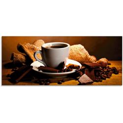Artland Glasbild Kaffeetasse Zimtstange Nüsse Schokolade, Getränke (1 Stück) 125 cm x 50 cm