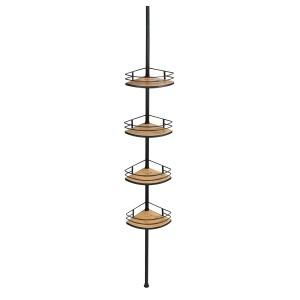 WENKO Teleskop-Eckregal Dolcedo, Dekoratives Duschregal aus Bambus und rostfreiem Edelstahl, Maße (B x H x T): 31 x 65 -275 x 23 cm