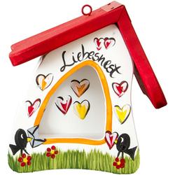Futterhaus, handbemalt, wetterfest, Vogelhaus Liebesnest weiß