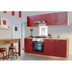 Küchenzeile Basic, mit Edelstahl-Kochmulde, Breite 210 cm rot