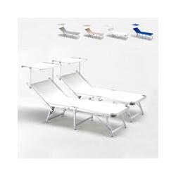 Bain de soleil pliants transats piscine aluminium lits de plage Gabicce offre pour 2 pièces | Blanc
