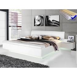 expendio Bett Sophie 1, weiß 180x200 cm mit aufklappbarer Fußbank inkl. Lattenrost und Taschenfederkernmatratze