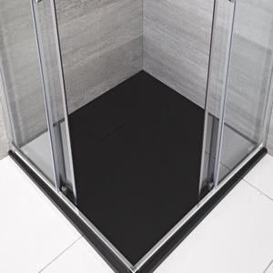 Rockwell -  Graphit Stein-Optik quadratische Duschwanne 900mm, von Hudson Reed