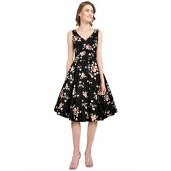 Chic Star Petticoat-Kleid Kleid schwarz Rosenmuster 54 (24)